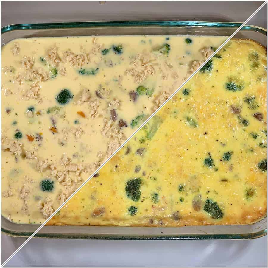 Chicken Sauce & Broccoli crustless quiche before & after baking collage