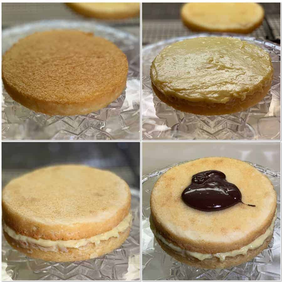 Assembling the Boston Cream Pie Components collage