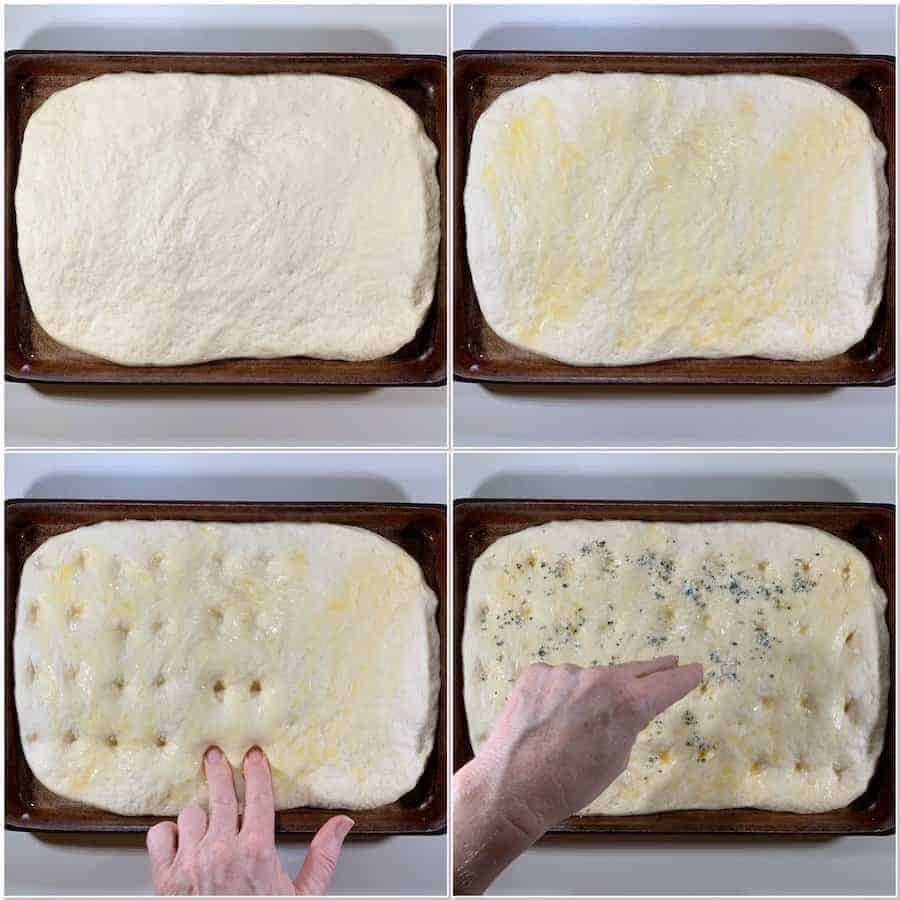 shaping the sourdough focaccia bread collage