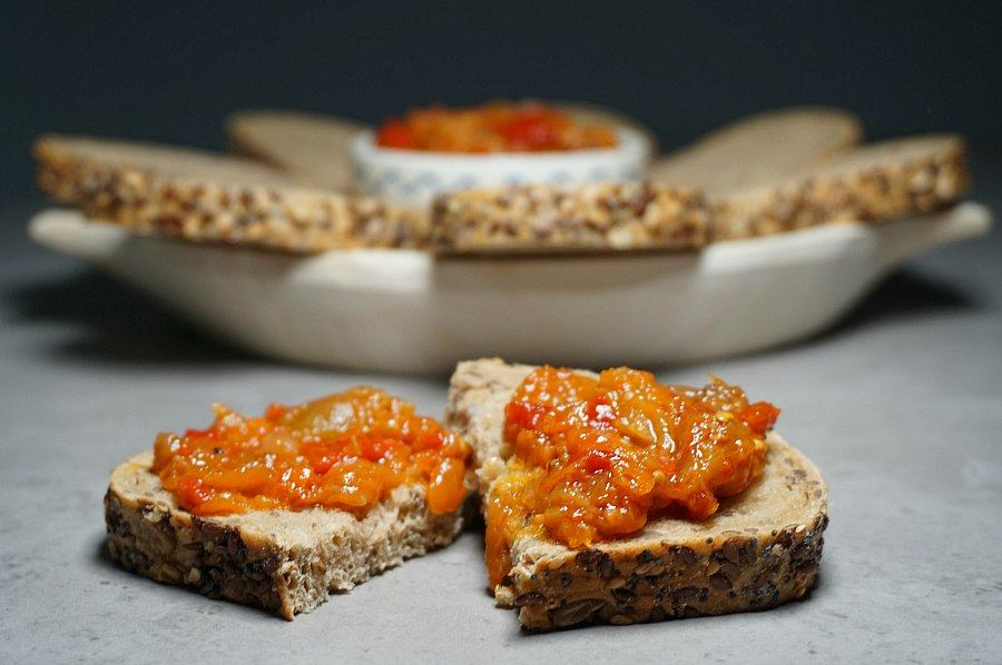 Eggplant dip on Seeded Bread