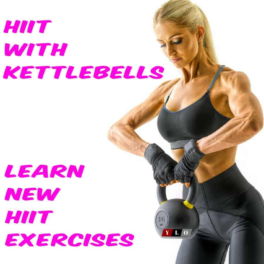 blond woman practicing with kettlebells