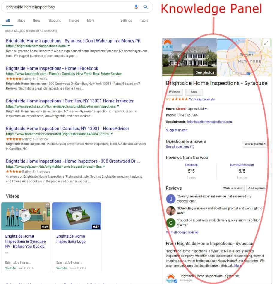 BHI Knowledge panel