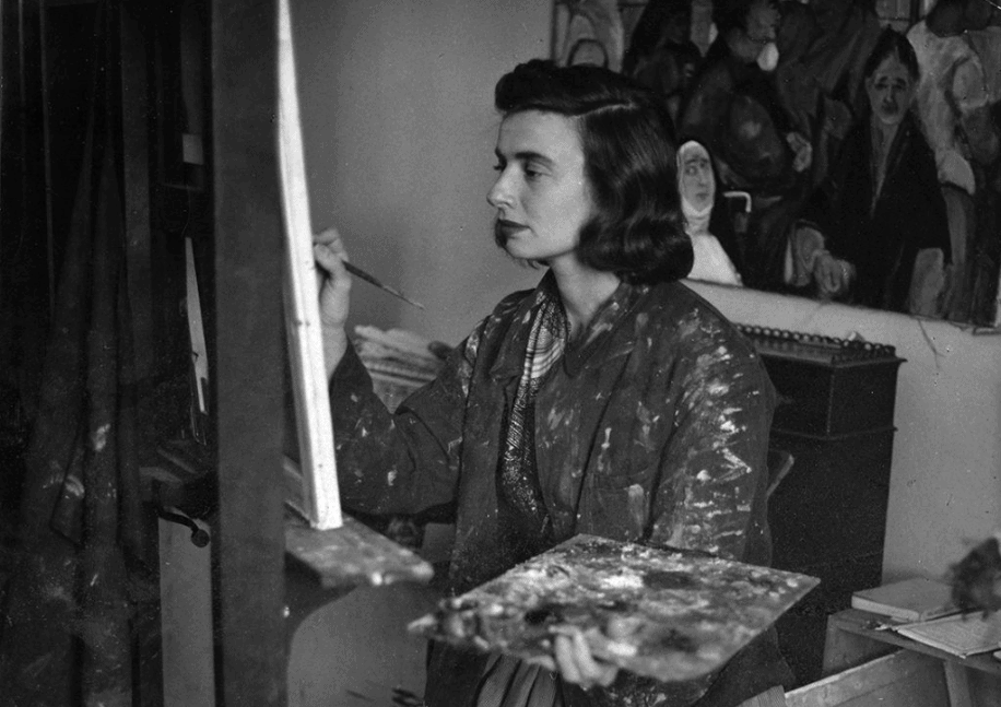 Beverly Pepper painting in her studio
