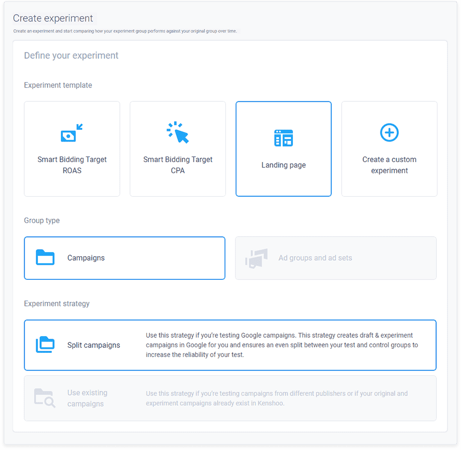 experiments product UI