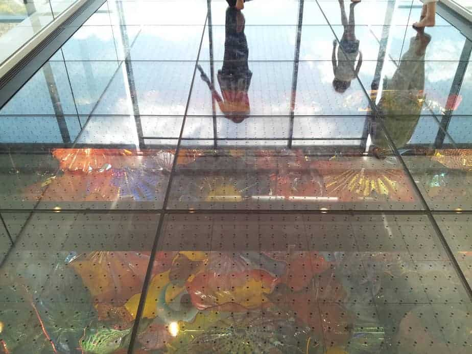 Reflection on Wichita Art Museum's glass floor