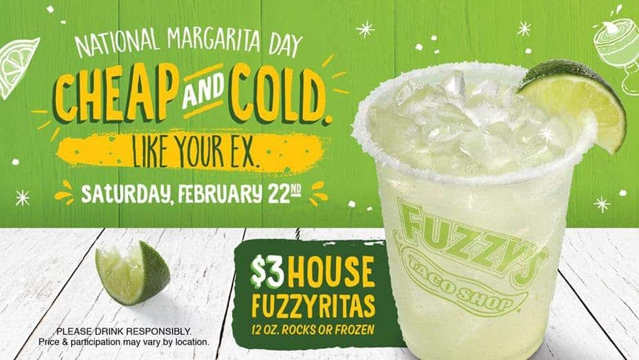 Cheap and cold, like your ex. Fuzzy's Taco Shop National Margarita Day deal