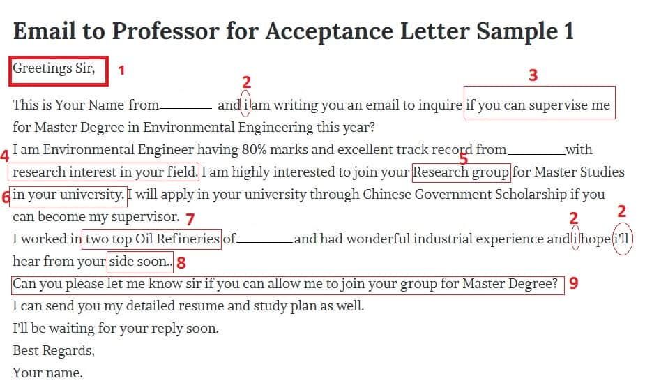 Mistakes to Avoid when email professors - A sample email