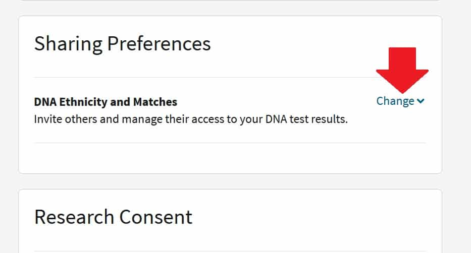 "To the right of the text ""DNA ethnicity and matches"" you can click on the ""Change"" link to expand your Sharing Preferences options and add someone to view your DNA results"