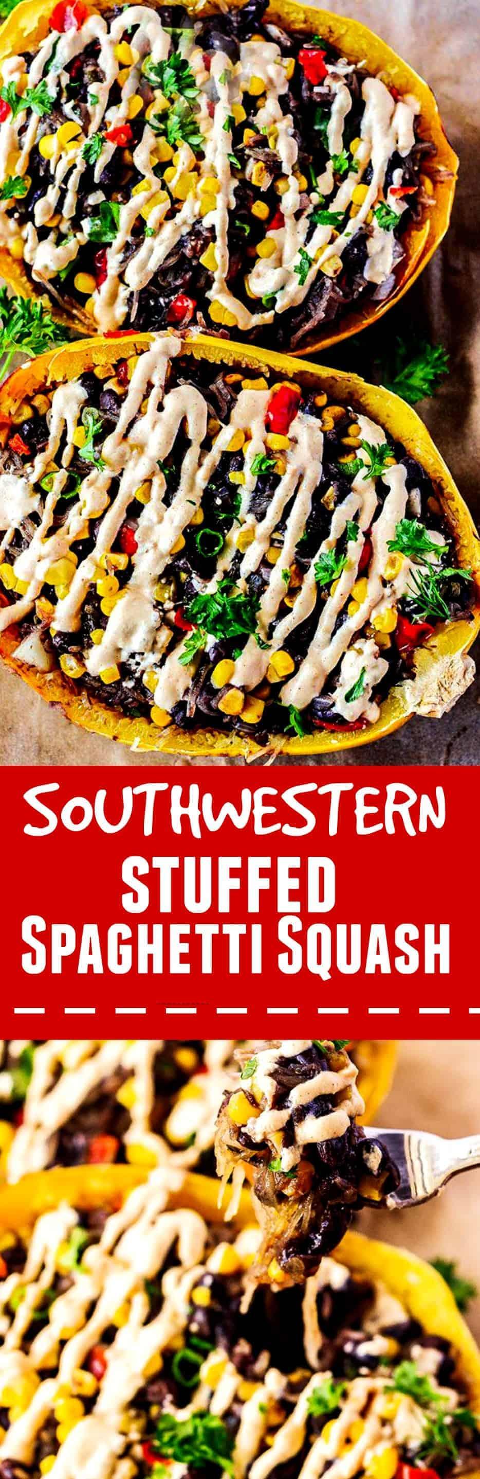 Southwestern Stuffed Spaghetti Squah