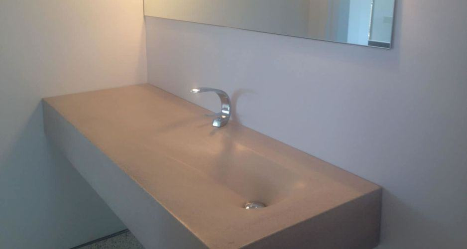Angle View of a Fabric Formed Concrete SInk