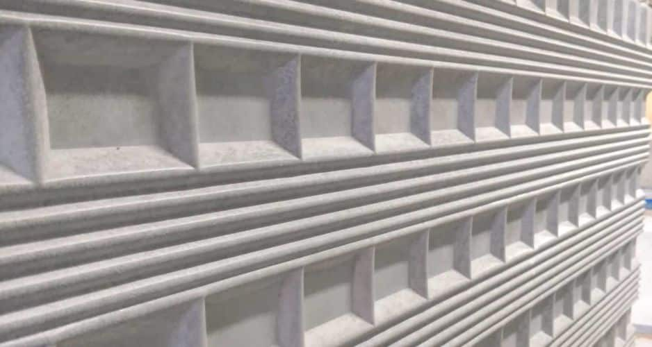 Concrete Wall Panel with Flutes and Squares