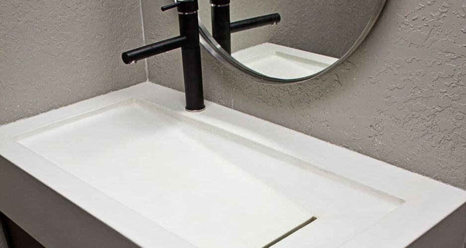 White-concrete-sink-showroom