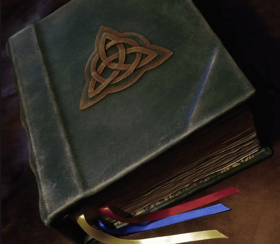 The triquetra in a circle became well known as the cover motif on the Book of Shadows in the American TV show Charmed.
