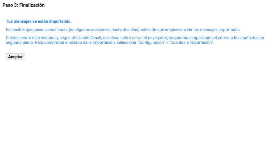 Los mensajes se están importando desde tu cuenta de empresa a Gmail