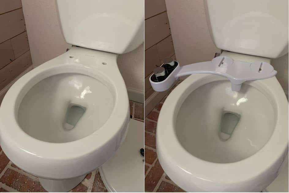 Toilet with the seat off and bidet attachment on bowl
