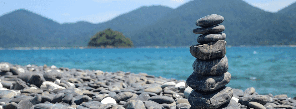 stones piled by the lake