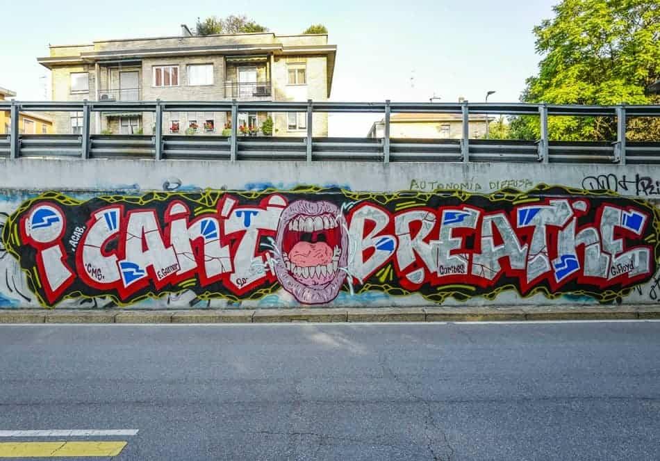 A mural in memory of George Floyd's last words in Milan.