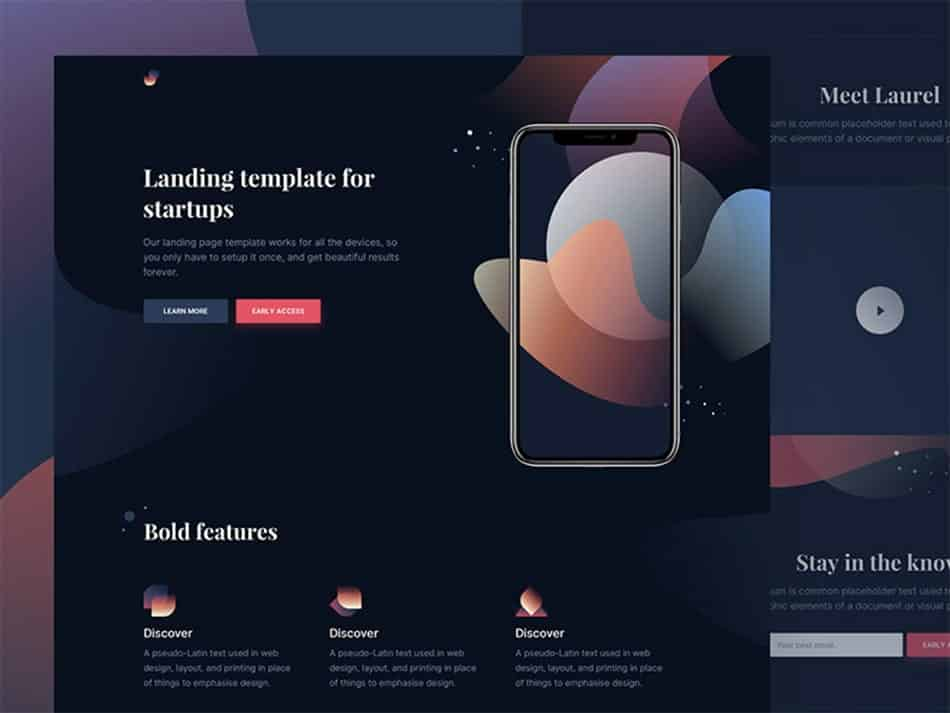 Laurel: Free HTML template for app presentation