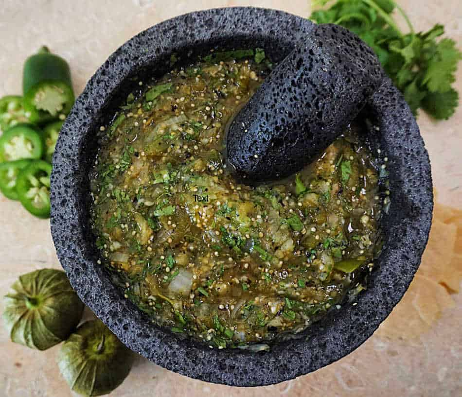 Spicy Molcajete Salsa Verde with Tomatillos