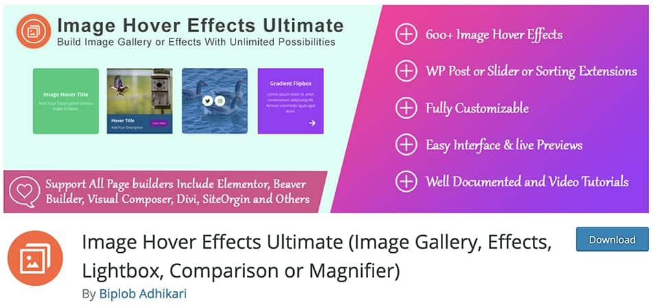 Image Hover Effects Ultimate (Image Gallery, Effects, Lightbox, Comparison or Magnifier)