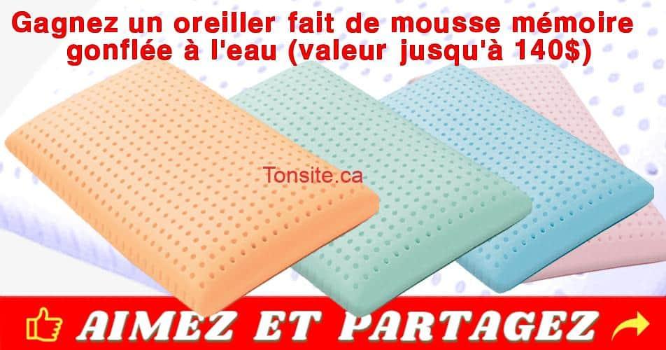 gagnon concours - Gagnez un oreiller BLU fait de mousse mémoire gonflée à l'eau (valeur jusqu'à 140$)