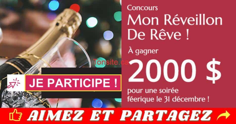 reveillon 2000 - Gagnez 2000$ pour réaliser votre réveillon de rêve le 31 décembre prochain!