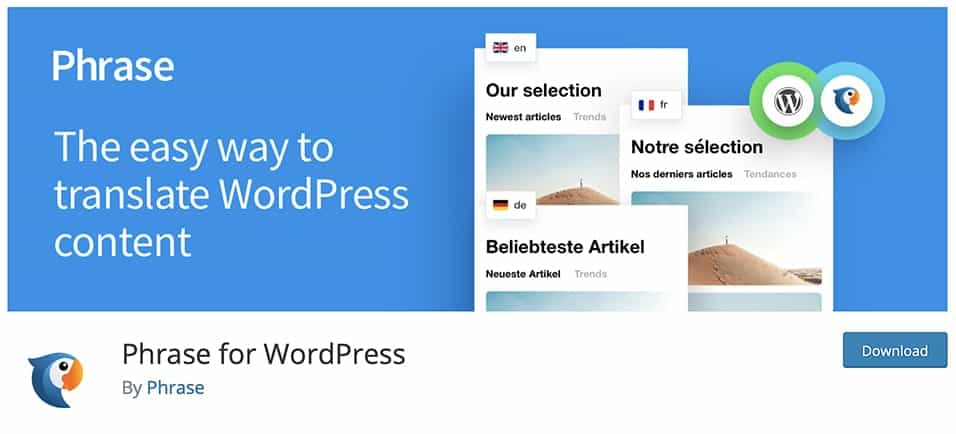 Phrase for WordPress translation plugin