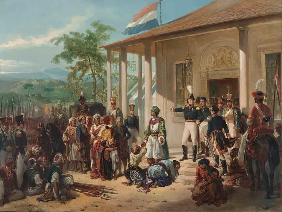 The Dutch flag flies on Java in this painting by Nicolaas Pieneman, which depicts the 1830 arrest of Javanese rebel Diepo Negoro at the hands of the Dutch, ending the five-year Java War.