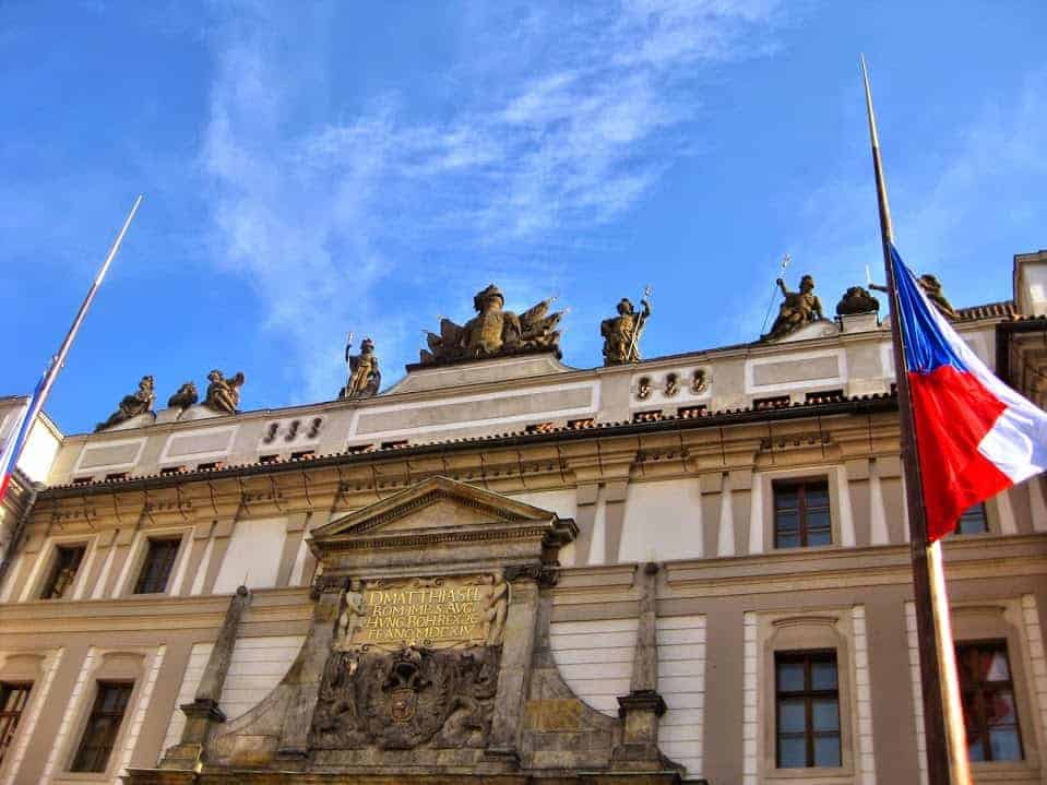 prague with czech flag
