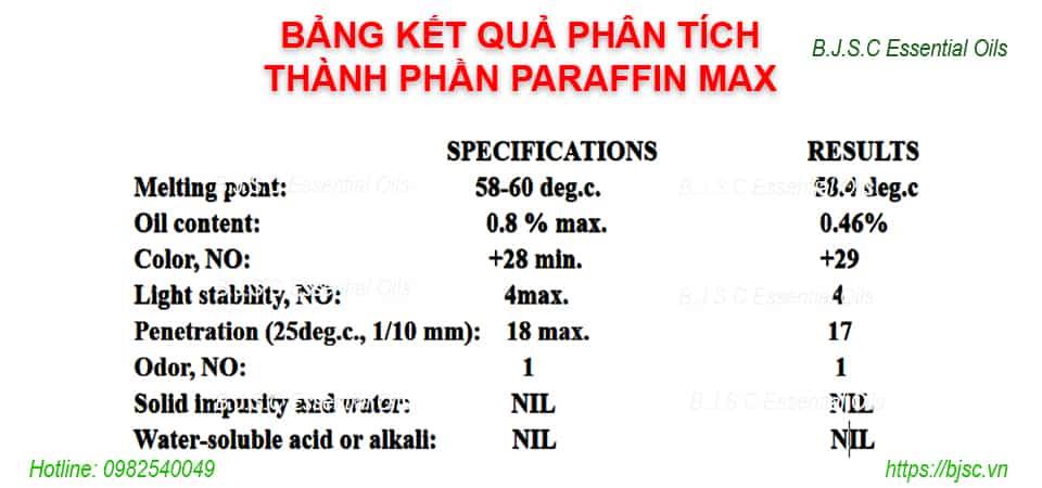 Bảng phân tích thành phần Paraffin Fully Wax