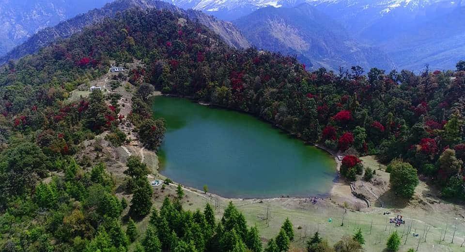 photo of Deoriatal, Chopta in spring season, Aerial view of Deoriatal,