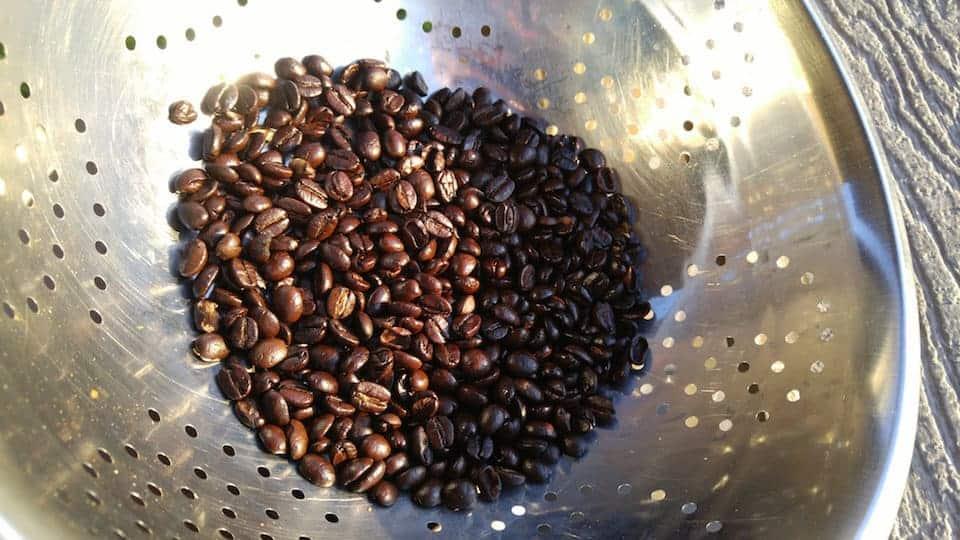 Beans cooling in colander