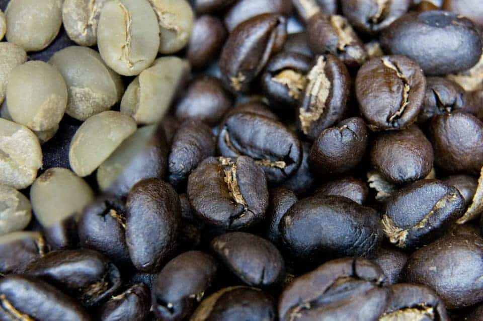 Green coffee beans before and after