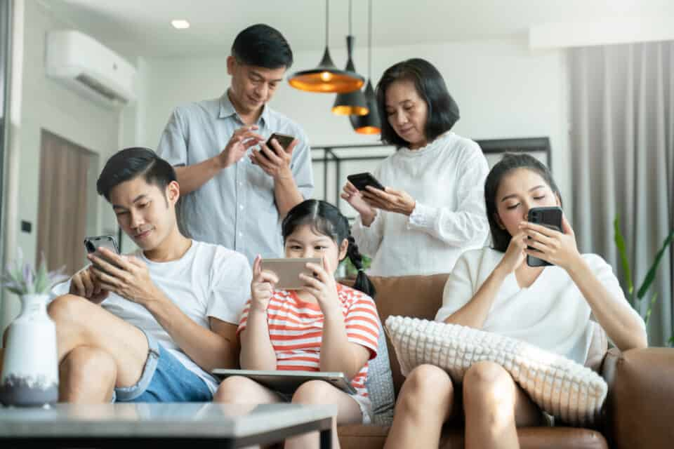 a family using screens