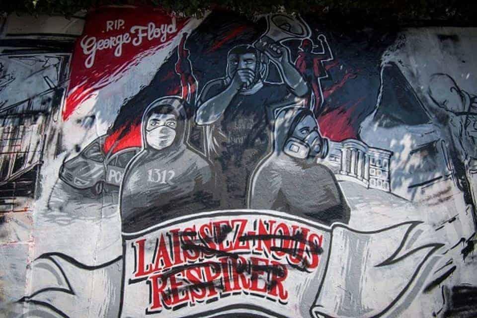 Mural in Nantes, France, honouring George Floyd.