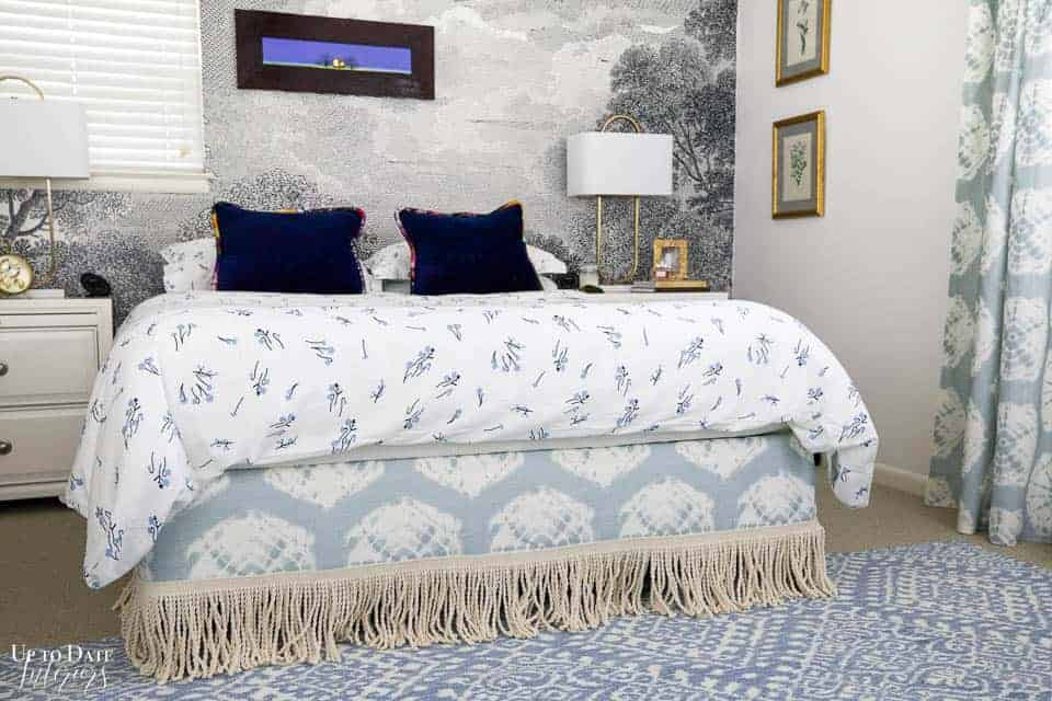 Blue and white bright bedroom with wall mural and DIY bedding and window treatments