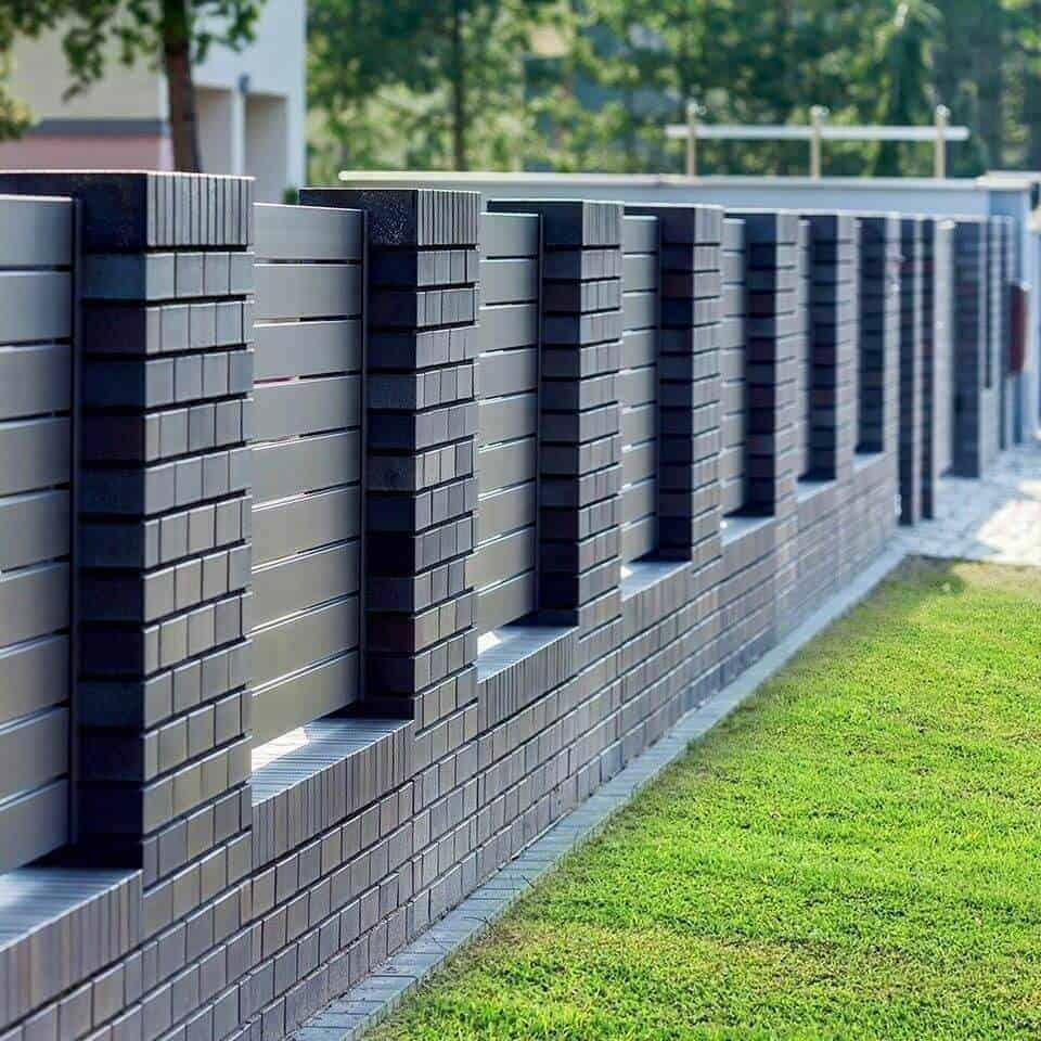brick pattern metal compound wall