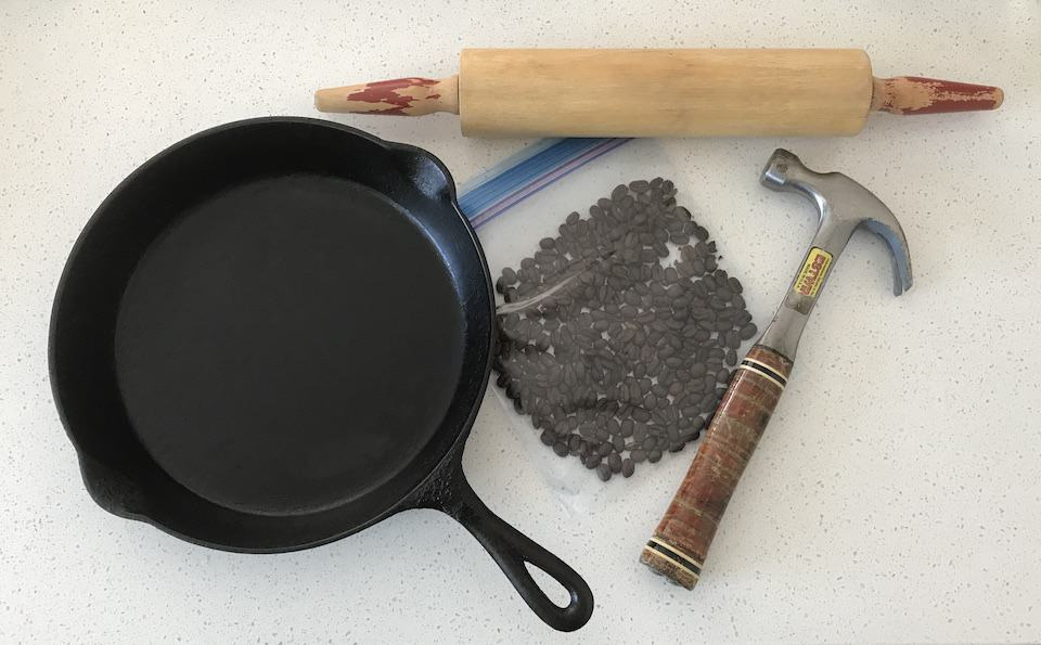 Tools for grinding coffee beans without a grinder