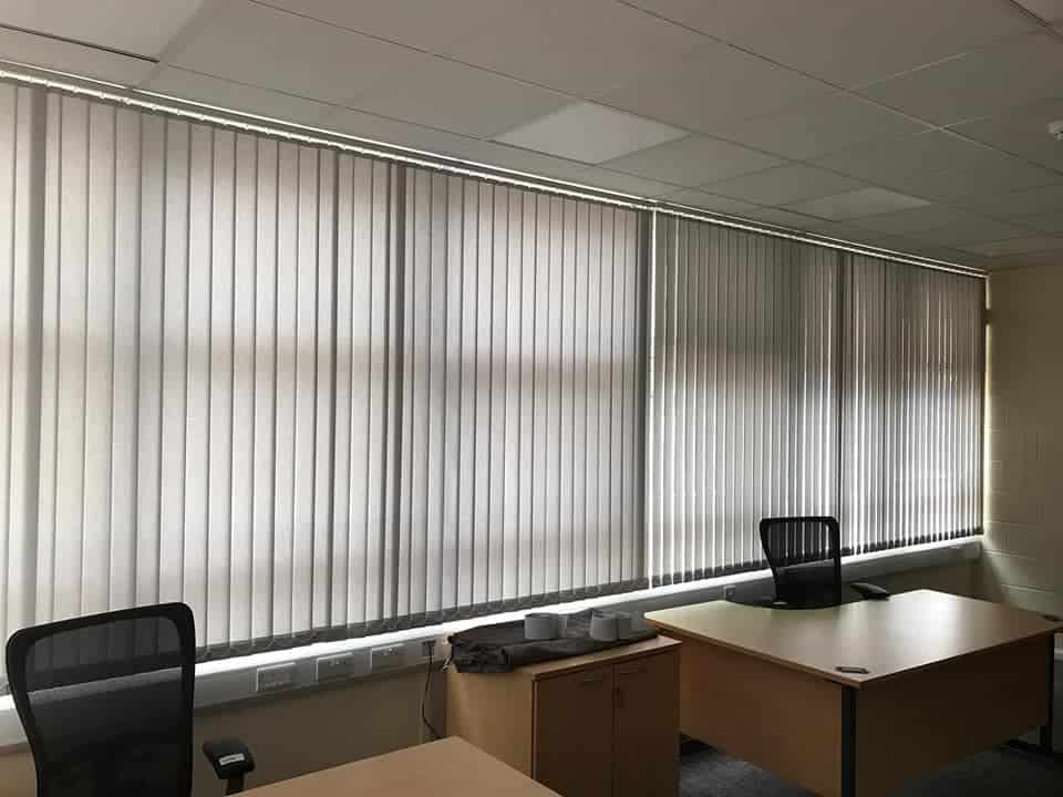 vertical blinds in an office