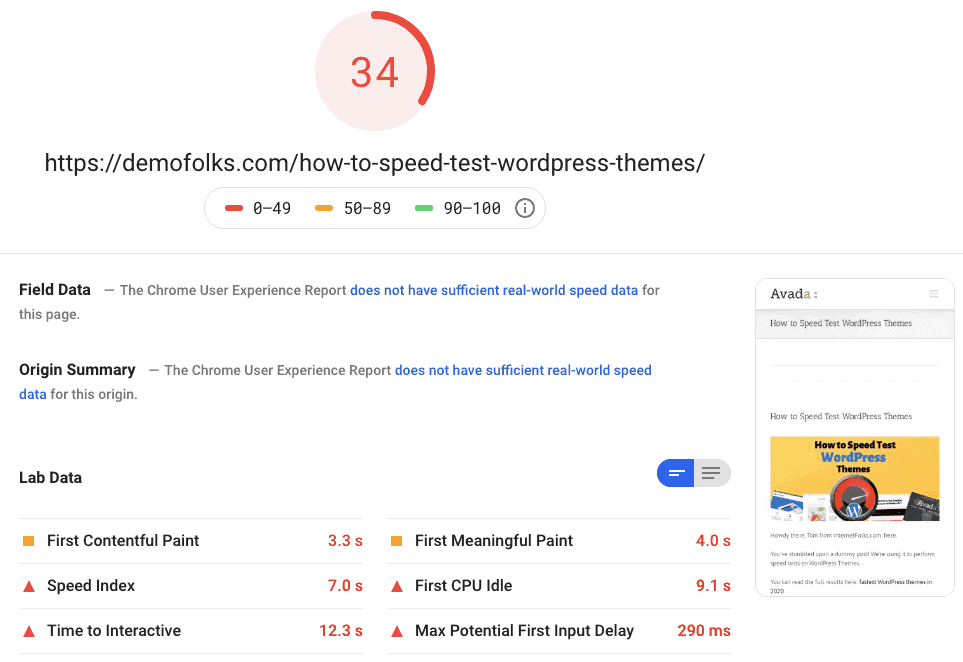 Avada Pagespeed Mobile