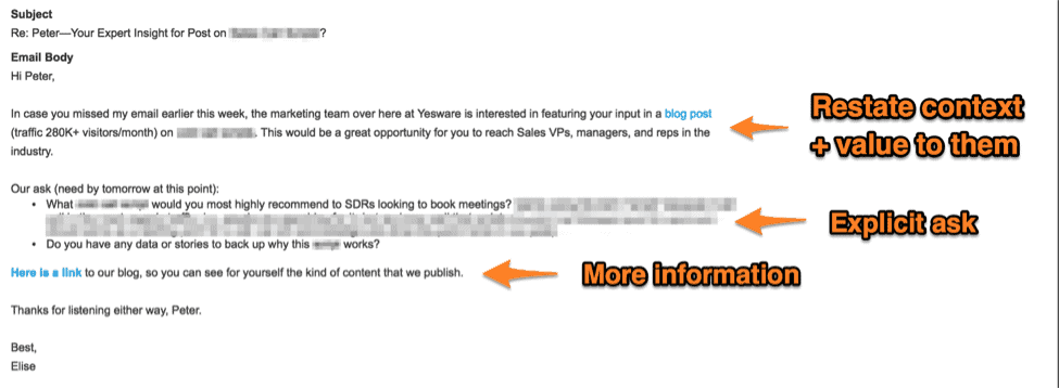 how to send a follow up email after no response