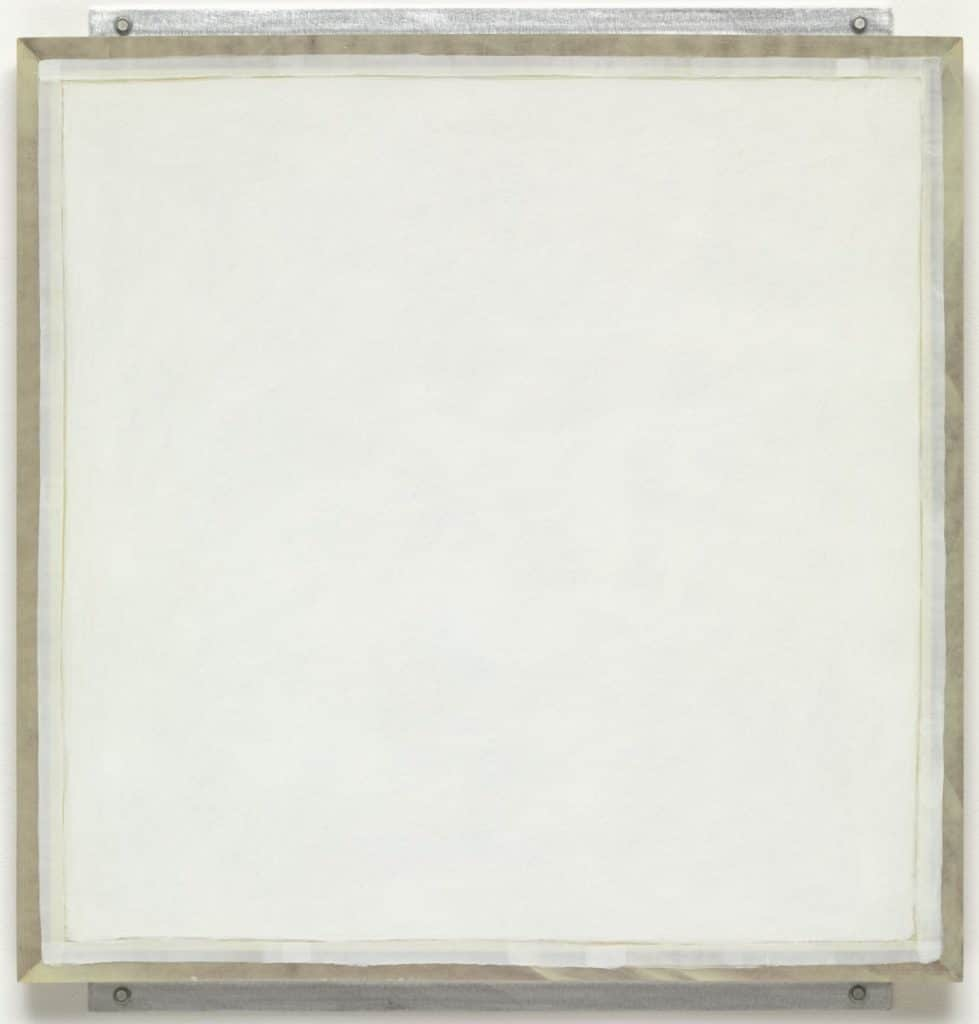 Robert Ryman, Ledger, 1982. Enamelac paint on fibreglass, aluminium and wood