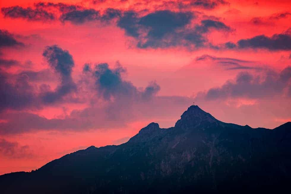 Burning Sky and black Mountain