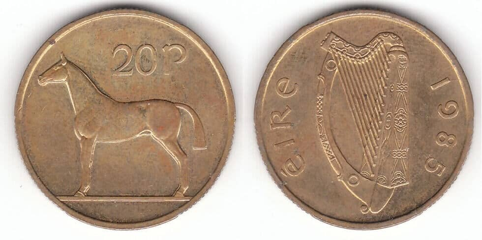 1985 old Irish 20p coins that could be worth a lot of money today in auction.