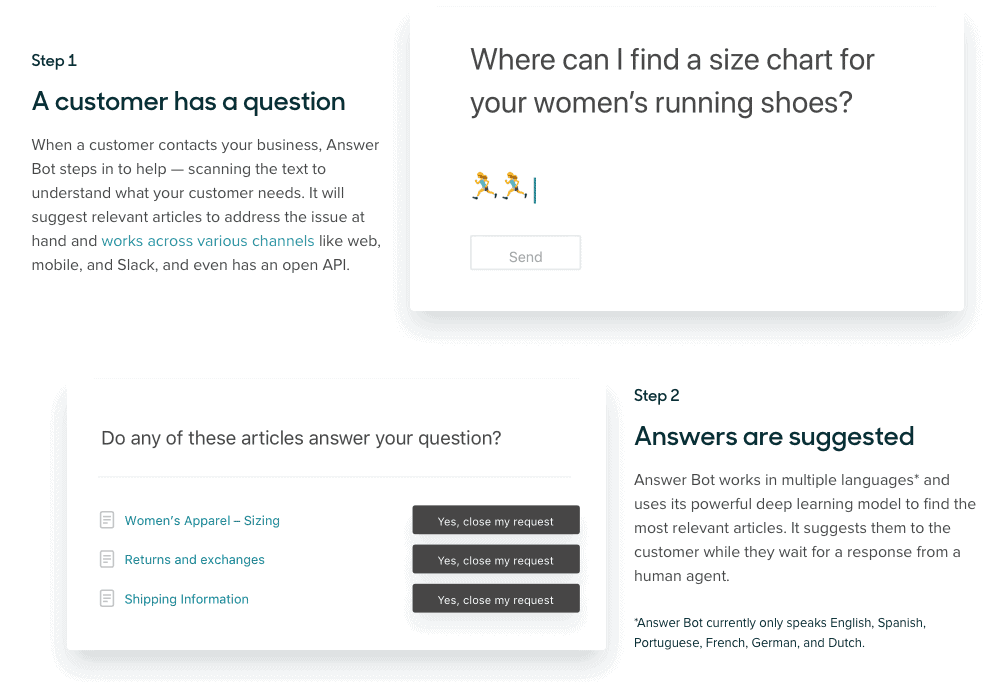 how answer bot work zendesk dee learning