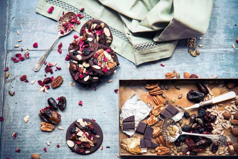 Dark chocolate fruit and nut thins