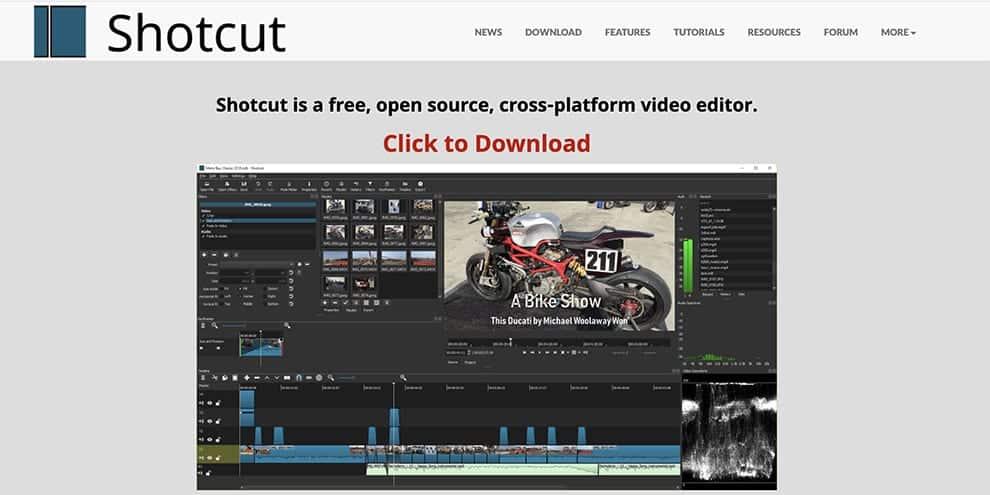 shotcut free video editing software