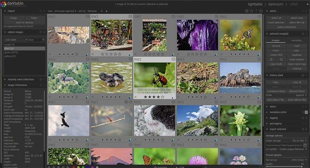 Darktable free photoshop editor
