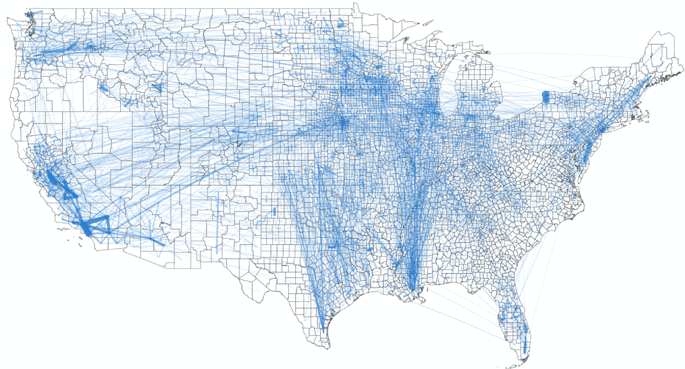 Map of food flows between counties in the U.S. Each line represents the transportation of all food commodities, along transit routes, like roads or railways. Map: Lin et al., 2019, CC BY-SA