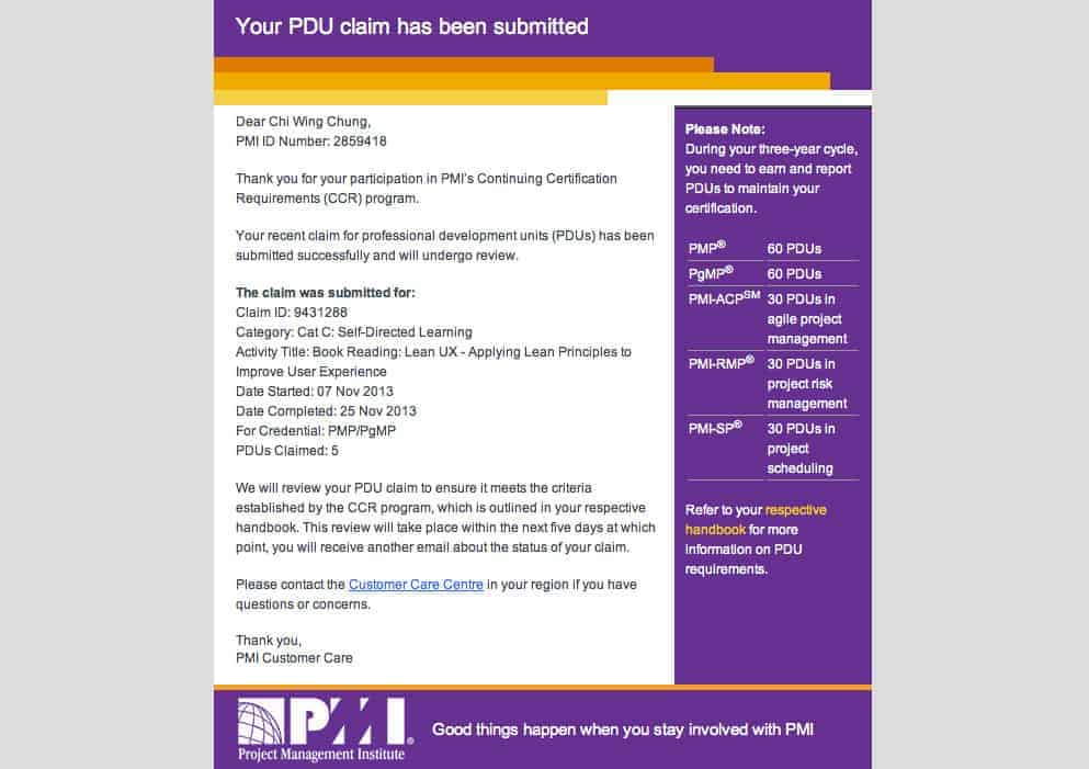 email received after claiming PDUs online